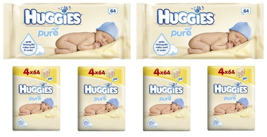 Huggies Pure Baby Wipes Quad Pack £2.99 @ Tesco