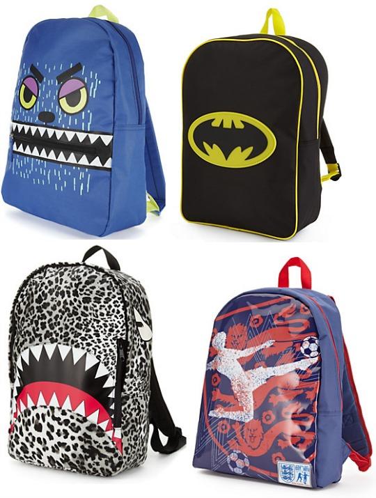 Back To School Boys' Rucksacks From £5 @ M&S