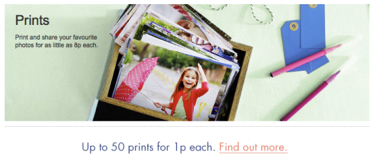 50 prints for 1p per print @ Snapfish