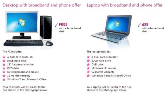 Free PCs When Taken With £1.75 PM Broadband