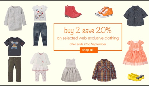 Kids Long Sleeve Tops & Multibuys From £2 And Buy 2, Save 20% @ Mothercare