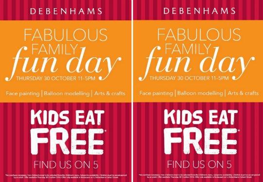 FREE Fabulous Family Fun Day & Kids Eat Free (No Purchase Necessary) @ Debenhams Oxford Street
