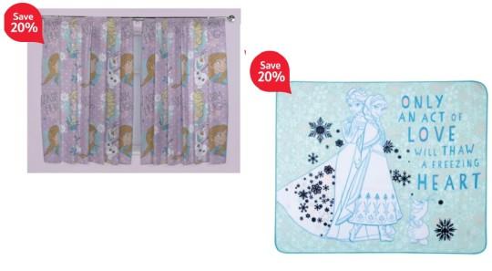 Disney Frozen Anna and Elsa Fleece £5.60 Curtains £12 @ Tesco Direct