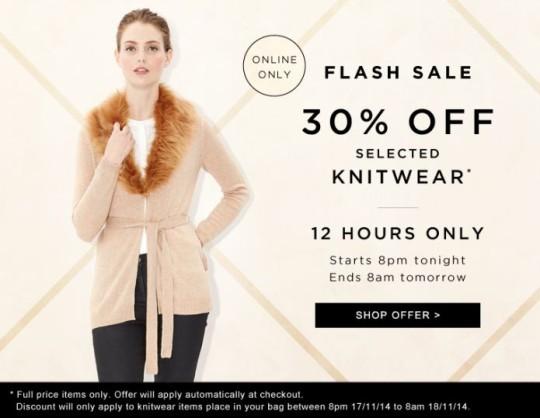 Flash Sale: 30% Off Selected Knitwear @ Monsoon