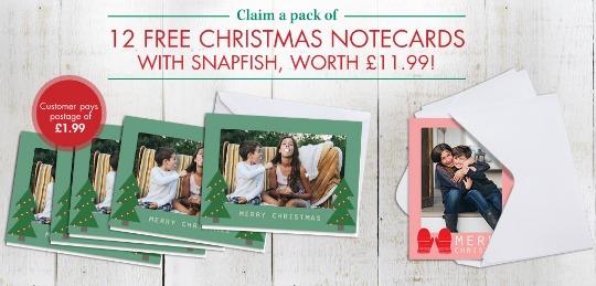 12 FREE Personalised Christmas Cards @ Snapfish (£1.99 p&p)