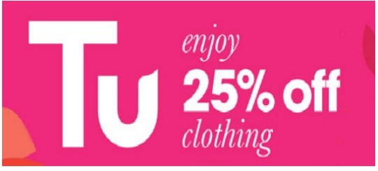 Heads Up: 25% Off Tu Clothing Starts 2nd December @ Sainsbury's