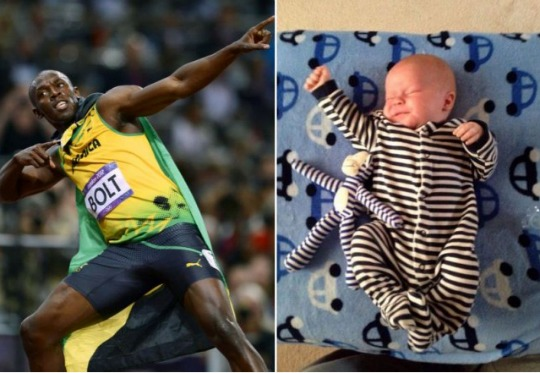 Usain Bolt Rates Baby 'Lightning' Poses on Twitter