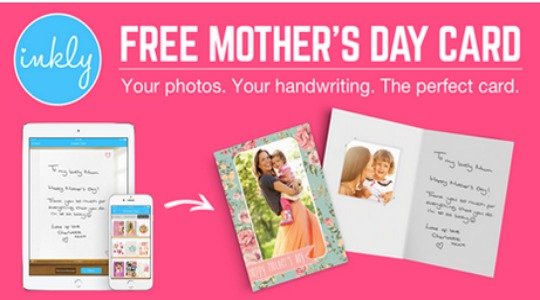 NEW CUSTOMERS ONLY: FREE Mother's Day Card Just Pay 62p Postage @ Inkly