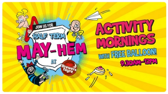 FREE Kids' Activity Mornings This Half Term @ Brewers Fayre