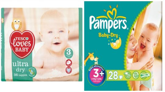 BIG Savings On Own Brand & Pampers Nappies @ Tesco Direct