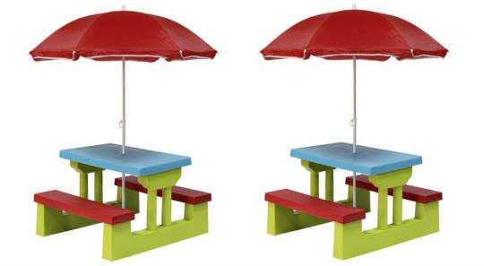Kid's Plastic Bench Set With Parasol £30 (was £40) @ Tesco Direct