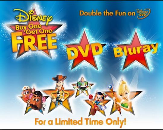 Disney Dvd's Blu-Ray & 3D Blu-Ray BOGOF Starts Monday @ Zavvi